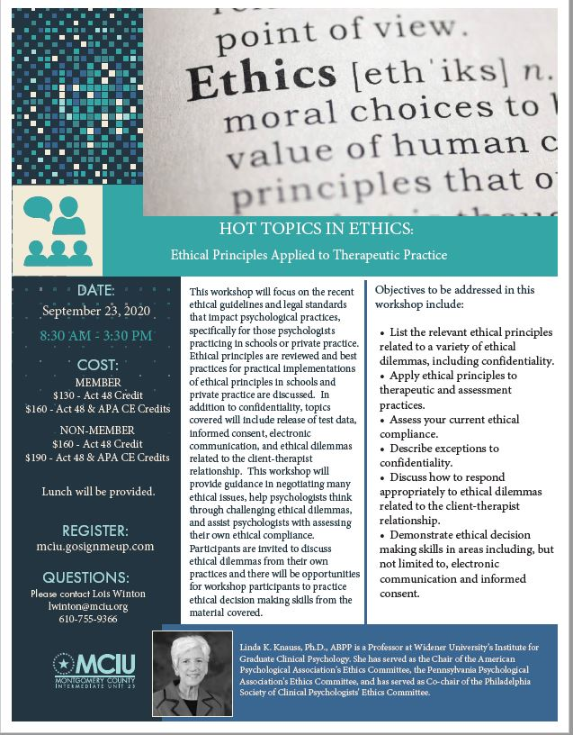 Hot Topics in Ethics: Ethical Principles Applied to Therapeutic Practice